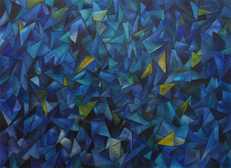 Blue Fort, acrylic on canvas, 40×30″